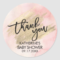Pink Watercolor Gold Brush Stroke Baby Shower Classic Round Sticker