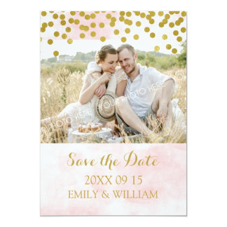 Pink Watercolor Gold Confetti Photo Save the Date Card