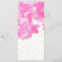 Pink watercolor gold faux glitter polka dots