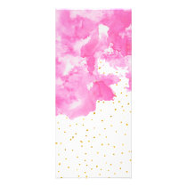 Pink watercolor gold faux glitter polka dots rack card