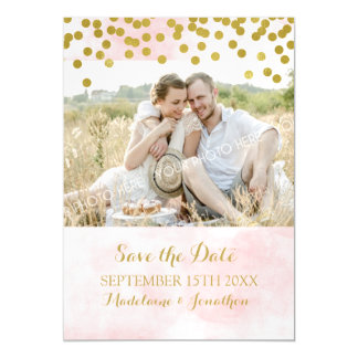 Pink Watercolor Gold Save The Date Magnetic Card
