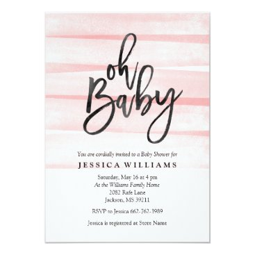 Toddler & Baby themed Pink Watercolor Gradient Oh Baby Shower Invitation