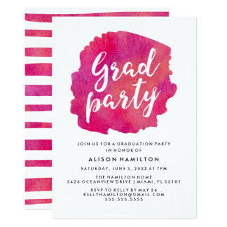 Pink Watercolor Graduation Party Card