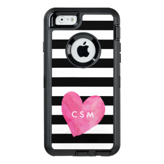 Pink Watercolor Heart Personalized | Striped OtterBox Defender iPhone Case
