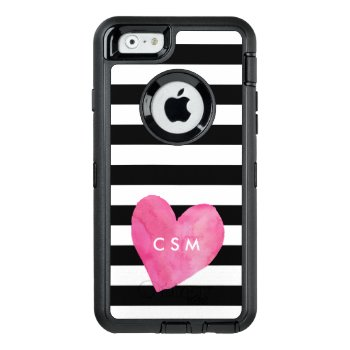 Pink Watercolor Heart Personalized | Striped Otterbox Defender Iphone Case by RedwoodAndVine at Zazzle