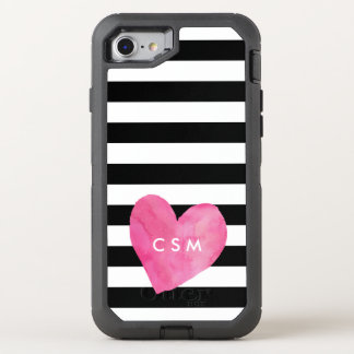 Pink Watercolor Heart | Striped OtterBox Defender iPhone 7 Case