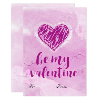 Pink Watercolor Heart Valentine Card