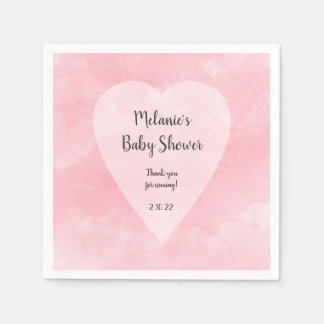 Pink Watercolor heart Valentine theme baby shower Paper Napkin