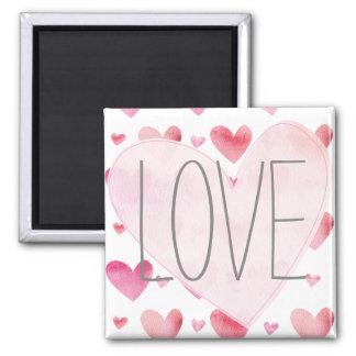 Pink Watercolor Hearts Love Valentines Pattern 2 Inch Square Magnet