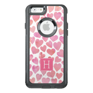 Pink Watercolor Hearts Monogrammed OtterBox iPhone 6/6s Case