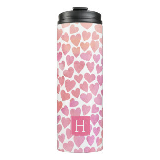 Pink Watercolor Hearts Pattern Thermal Tumbler