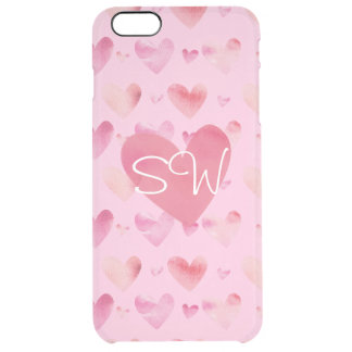 Pink Watercolor Hearts Valentines Clear iPhone 6 Plus Case