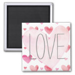 Pink Watercolor Hearts Valentines Refrigerator Magnet