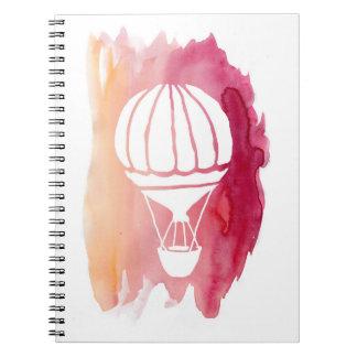 Pink Watercolor Hot Air Balloon Notebook