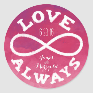 Pink Watercolor Infinity Love Wedding Date, Names Classic Round Sticker