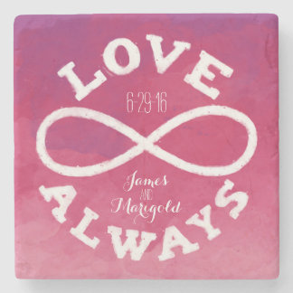 Pink Watercolor Infinity Love Wedding Date, Names Stone Coaster