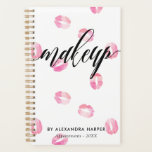 "Pink Watercolor Kisses - Makeup Appointment Planner<br><div class=""desc"">Spiral appointment book printed with plenty of pink lipstick marks filled with watercolor and &quot;makeup&quot; written in a gorgeous black calligraphy script. Personalize with your name in modern black letters.</div>"