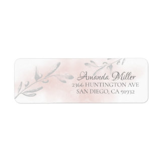 Pink Watercolor Leaf Return address Label