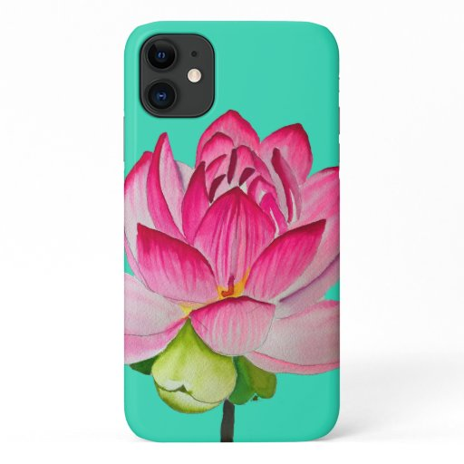 Pink watercolor lotus flower fine art iPhone 11 case