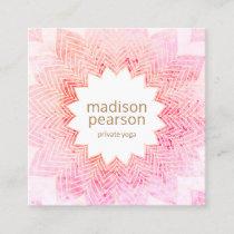 Pink Watercolor Lotus Mandala Flower Yoga Teacher Square Business Card