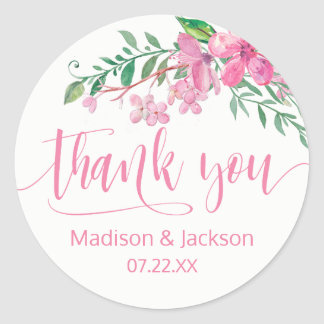 Pink Watercolor Love Blossoms Wedding Favor Classic Round Sticker