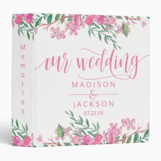 Pink Watercolor Love Blossoms Wedding Photo Album Binder