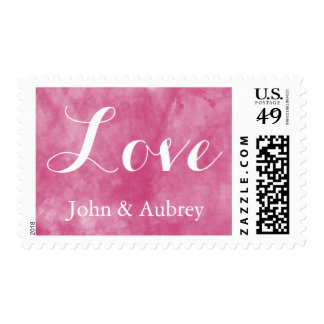 Pink Watercolor Love Postage Stamp
