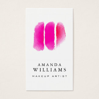 Pink Watercolor Makeup Artist Swatches Business Card