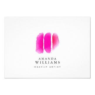 Pink Watercolor Makeup Swatches Flat Notecard