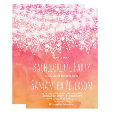 Beach Themed Pink watercolor mandala string lights bachelorette card
