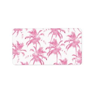 Pink watercolor modern palm tree pattern label