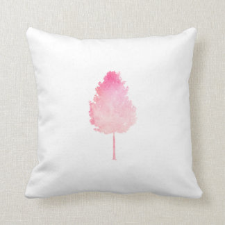 Pink Watercolor Modern Tree Nature Throw Pillow