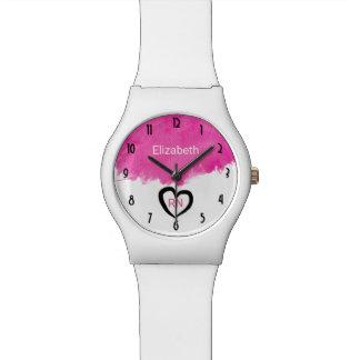 Pink Watercolor Paint Splatter RN Nurse Wrist Watch