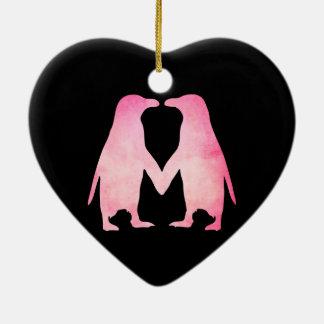 Pink watercolor penguins in love ceramic ornament