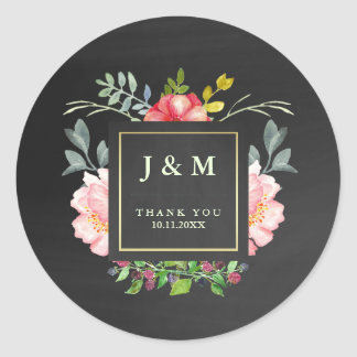 Pink Watercolor Peonies and Chalkboard for Wedding Classic Round Sticker