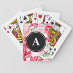 """Pink Watercolor Peonies and Lilies Monogram Playing Cards<br><div class=""""desc"""">This is a wonderful gift idea for someone special, for a special celebration, a birthday party, Christmas present or any gift giving occasion. This unique gift can be customized to fit your needs. Images can be added, changed or moved. Text can be changed to a different font, moved, added, or...</div>"""