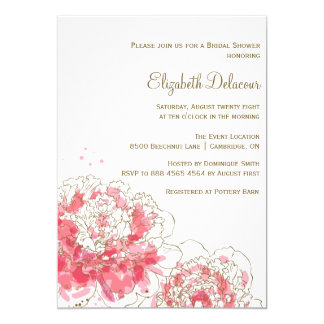 "Pink Watercolor Peonies Bridal Shower Invitation 5"" X 7"" Invitation Card"
