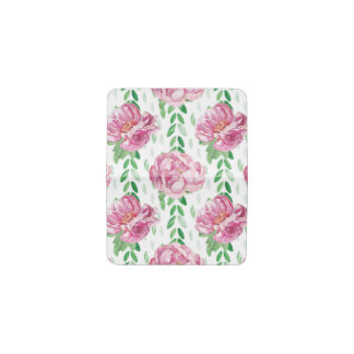 Pink  Watercolor Peonies Business Card Holder