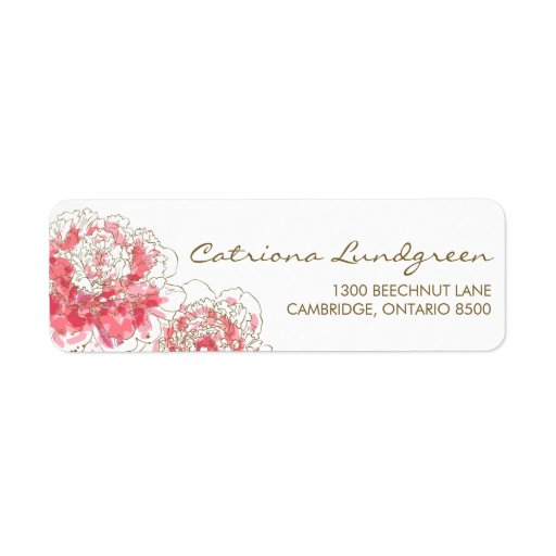 Pink Watercolor Peonies Chic Return Address Labels