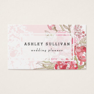 Pink Watercolor Peonies | Floral Business Card
