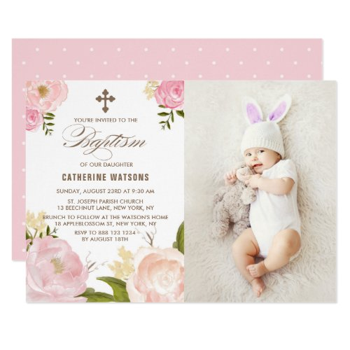 Pink Watercolor Peonies Photo Baptism Invitation