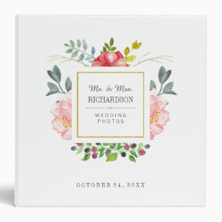 Pink Watercolor Peonies with Gold Frame | Wedding Binder