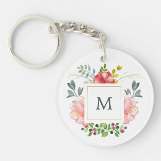 Pink Watercolor Peonies with Monogram Keychain