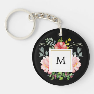 Pink Watercolor Peonies with Monogram on Black Keychain