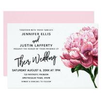 Pink Watercolor Peony Flower, Modern Wedding Card