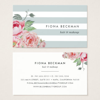 Pink Watercolor Peony & Mint Stripe Business Card