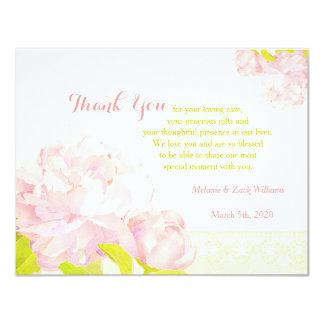 Pink Watercolor Peony Wedding Thank You Card