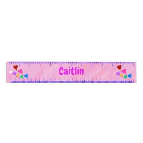 Pink Watercolor Personalized Name Hearts Ruler