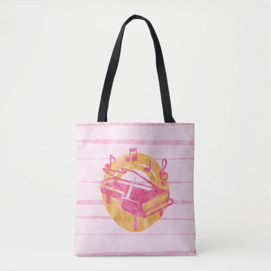 Pink Watercolor Piano and Musical Notes Tote Bag