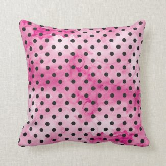 Pink Watercolor Polka Dot Pillow